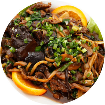 112. LAMB WITH MUSHROOMS AND BAMBOO SHOOTS
