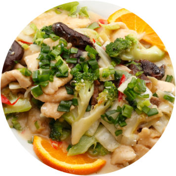 88. CHICKEN WITH BLACK MUSHROOMS, CHINESE CABBAGE AND BROCCOLI