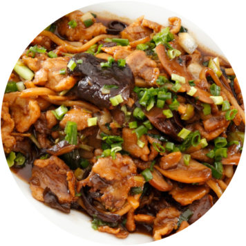 91. PORK WITH MUSHROOMS AND BAMBOO SHOOTS